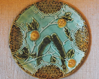 Antique French Majolica BARBOTINE Plates PARROTS & fruit Salins