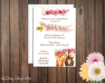 Baby Shower Invitation - Woodland Animals and Flowers - Watercolor Style