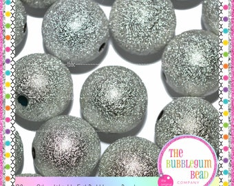 20mm BRIGHT SILVER WRINKLE Bubblegum Beads, Chunky Bead, Gumball Bead, Acrylic Bead, Round Bead, Diy Jewelry Supply, The Bubblegum Bead Co.
