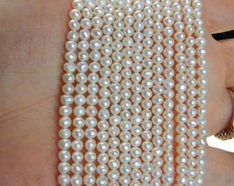 3.5-4mm Creamy White,freshwater  potato pearls , FULL STRAND
