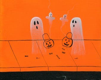 Original Painting Ghost With the Most - 6x6 - Halloween Folk Art - 2 Ghosts comparing their treat or treat haul - OOAK Acrylic on Canvas