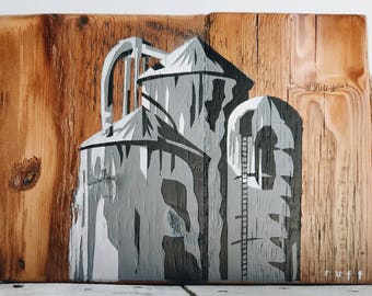 3 Silos - reclaimed wood and stencil