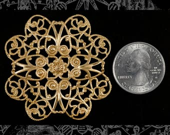 Reserved Listing for RedRose23 20 pieces of Large Flower Shaped 8 Petaled Raw Brass Filigree 50mm