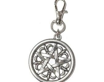 FLASH SALE Silver Toned  Gothic Pentagram Keychain Key Fob