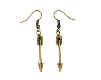 SALE Brass Arrow Charm Earrings