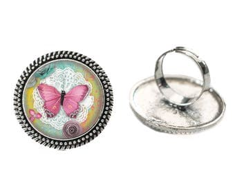 Pink Butterfly and Lace 25mm Cabochon Silver Double Rope Adjustable Ring