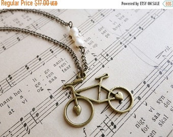 25% OFF SALE Darling bicycle and pearl necklace, Pedal Pusher