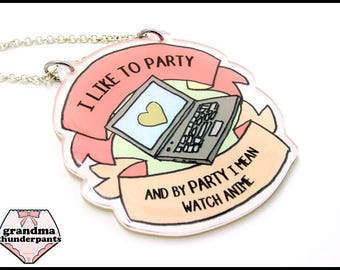 Anime Party Necklace, Manga, Animation, Nerdy, Anime Fan Jewelry