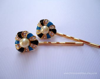 Vintage earrings hair grips - Blue black enamel swirls white pearl rhinestones girl decorative gold embellish jeweled hair accessories