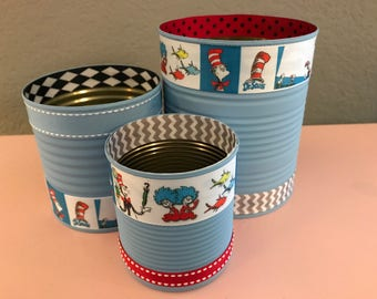 Set of (3) Dr. Seuss Cans Decorated in Blue and Red