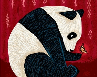 The Panda and The Butterfly - art poster print by Oliver Lake - iOTA iLLUSTRATiON