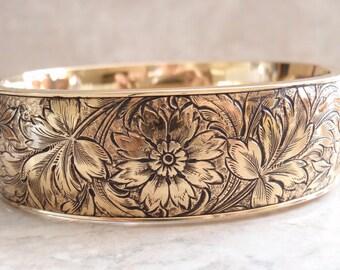 Gold Filled Bangle Finberg Mfg Co Wide Floral Vintage V0769
