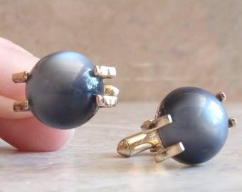 Steel Blue Cufflinks Swank Moonglow Lucite Gold Tone Vintage V0635