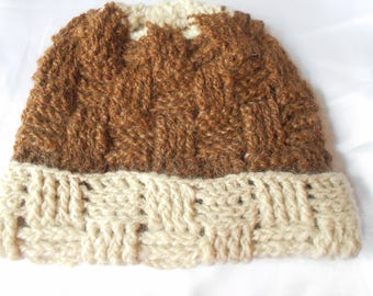 100% BABY Alpaca Hat - Brown & Beige - Adult Size