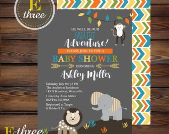 Jungle Baby Shower Invitation - Boy's Baby Shower Invitations - Gray and Bright Colors - Lion, Monkey, Elephant