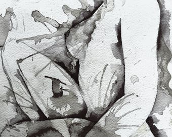 Sunset - Female Nude - Modern Design Canvas Print 40x60