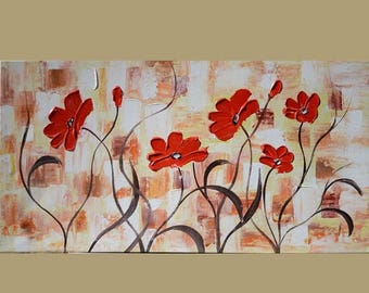 70% off ORIGINAL Oil Painting Little Talks 23 X 45 Flowers Abstract Colorful Modern Palette Knife Big Brown White Red ART by MArchella