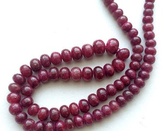 ON SALE 55% Ruby Beads, Ruby Jewelry, Ruby Necklace, Ruby Smooth Rondelles, 6mm To 10mm, 4.5 Inch Strand, 19 Pieces