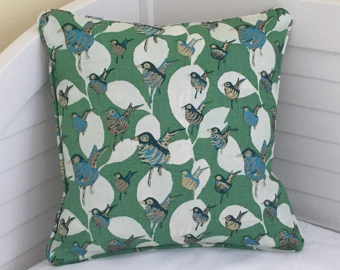 Lulu DK Dancers in Kelly Green Designer Pillow Cover with Piping,  12x12