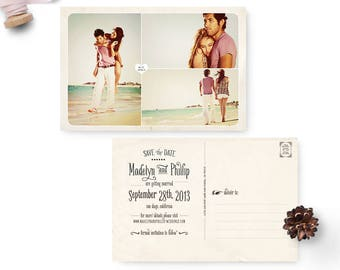 "Wedding save the date post card, 4x6, Save the date collage, personalized cards - the ""Madelyn 4"""