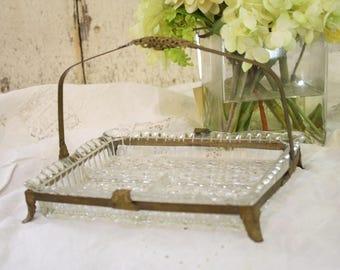 antique bedroom vanity. Antique Vanity Tray Pressed Glass Metal Gold Filigree Mount Handle Footed  Server Many Uses Bedroom vanity Etsy