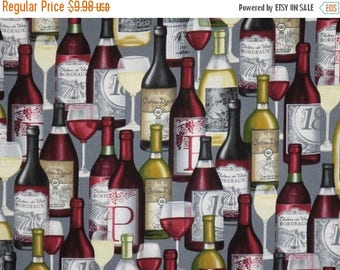 ON SALE Packed Wine Bottles on Gray Print Pure Cotton Fabric--One Yard