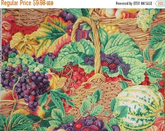 ON SALE Colorful Fruit Market Basket Print Pure Cotton Fabric--By the Yard