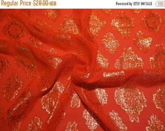 ON SALE Chinese Red and Metallic Gold Jacquard Pure Silk Chiffon with Lurex --One Yard