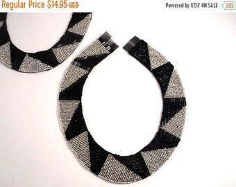 ON SALE Stunning Black and Silver Deco/Ethnic Design Beaded Collar--One Piece