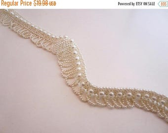 ON SALE Lovely All Pearl Beaded Fringe Trim--By the Yard