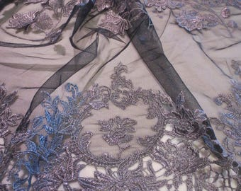 Elegant Metallic Silver Guipure and Embroidered Appliqué  on Black Tulle Fabric from Spain--By the Yard