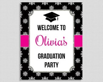 Graduation Welcome Sign, Hot Pink and Black Personalized Party Welcome Sign, Custom Made Sign, 8x10 inch, DIY PRINTABLE