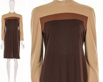 MOVING SALE Vintage 70's Brown COLORBLOCK Dress Long Sleeve Dress Mod Dress Retro Dress Shift Dress Medium