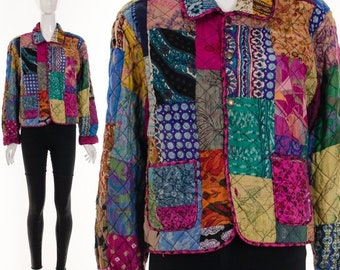 MOVING SALE PATCHWORK Silk Crop Jacket Bohemian Quilted Art Jacket Reversible Statement Jacket Bohemian Art Print Hand Painted Silk Jacket