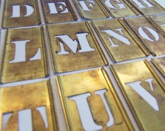 Vintage Brass Stencil, 1 inch Brass Stencil,  Alphabet ABC