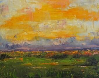 Landscape art original  oil painting impressionist style palette knife by Sandra Cutrer Fine Art