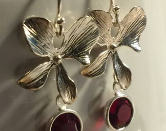 Orchid and Swarovski Crystal Earrings