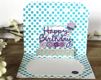 Handmade Popup Birthday Day Card, Polka Dots, Embossing, Blue White Purple, Blank Inside, Unique, One of a Kind