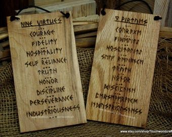 9 Virtues wall plaque, Nine virtues,  Norse, Viking, Altar, Norse home, Viking home,  Asatru, Heathen, Pagan, Viking gift, Viking new home,