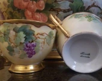Antique Favorite Bavaria Art Nouveau Porcelain Artisan Hand Painted Grapevine Vibrant Gold Leaf Gilded Punch Bowl Tea Cups Serving Set