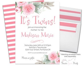 Floral Twins Baby Shower Invite - Floral Twins Baby Shower Invitation - Twin Girls Baby Shower Invite - Twin Babies Invitation - Baby Twins