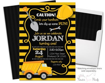 Construction Party Invitation - Construction Birthday Invitation - Construction Invitation - Construction Invite -  Boys Birthday Party