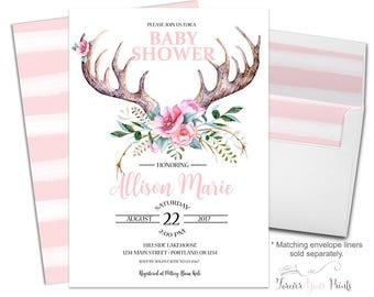 Antler Baby Shower Invitation - Boho Baby Shower Invitation Girl - Tribal Baby Shower - Girl Baby Shower Invite - Baby Girl Invitation