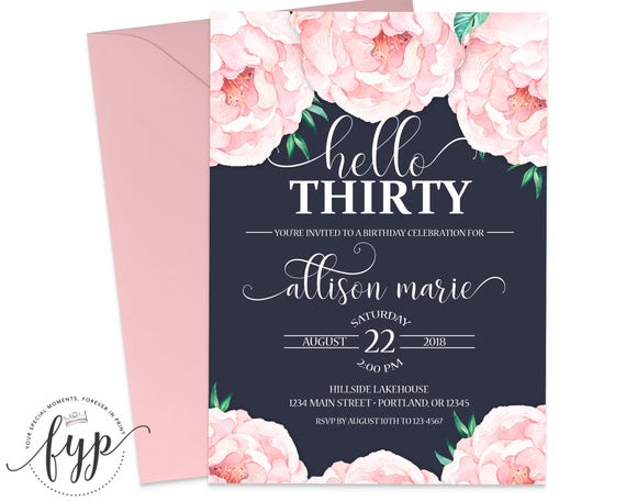 30th Birthday Invitation Floral 30th Birthday Invite 30th