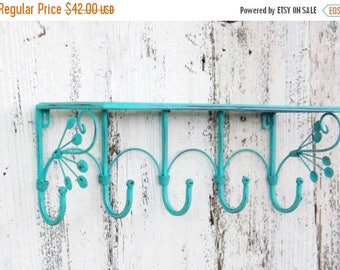 ON SALE AQUAMARINE Rustic Metal Shelf / Bathroom Shelf / Metal Shelf / Shabby Chic / Wall Shelf / Jewelry Organizer