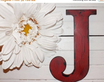 ON SALE Large Letter J / Wall Letter / Wood Letter / Choice Color / Cottage/ Wedding / Shabby Chic Decor