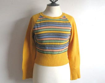 Vintage 1990s United Colors of Benetton Jumper Yellow Stripe Crop Knit 90s Pullover Sweater Small
