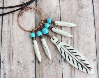 Southwestern Necklace - Long Feather Necklace - Boho Jewelry - Turquoise and Ivory Spikes -