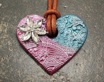 Heart Jewelry Silver Turquoise Hot Pink Heart Necklace Mixed Media Jewelry Bohemian One of a Kind Leather Necklace