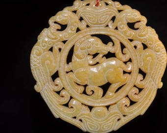 Reserved For Cristina---70mm Auspicious~SERPENTINE JADE Carved Two Phoenix/Goat/ Yuan-Bao(元寶) Chinese Ancient StyleAmulet /Feng Shui- P1119